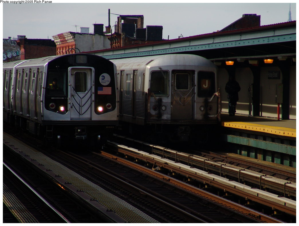(173k, 1044x788)<br><b>Country:</b> United States<br><b>City:</b> New York<br><b>System:</b> New York City Transit<br><b>Line:</b> BMT Nassau Street-Jamaica Line<br><b>Location:</b> Halsey Street<br><b>Route:</b> Test<br><b>Car:</b> R-42 (St. Louis, 1969-1970) 4743 <br><b>Photo by:</b> Richard Panse<br><b>Date:</b> 3/16/2005<br><b>Notes:</b> With R143 8240 being tested.<br><b>Viewed (this week/total):</b> 1 / 5139