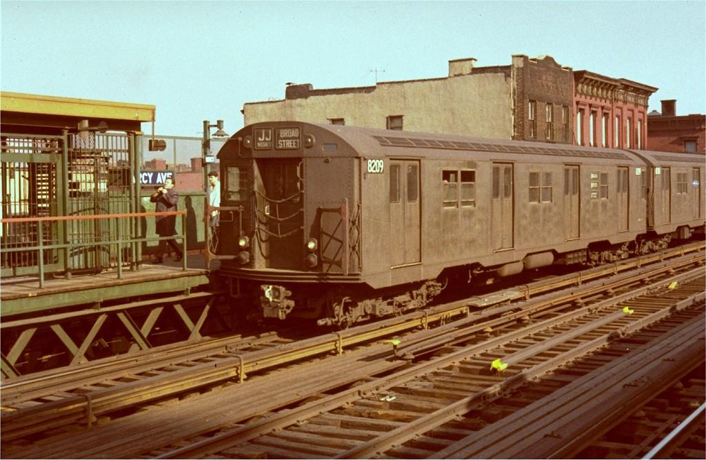 (206k, 1024x667)<br><b>Country:</b> United States<br><b>City:</b> New York<br><b>System:</b> New York City Transit<br><b>Line:</b> BMT Nassau Street-Jamaica Line<br><b>Location:</b> Marcy Avenue<br><b>Route:</b> J<br><b>Car:</b> R-27 (St. Louis, 1960) 8209 <br><b>Photo by:</b> Steve Zabel<br><b>Collection of:</b> Joe Testagrose<br><b>Viewed (this week/total):</b> 1 / 3838