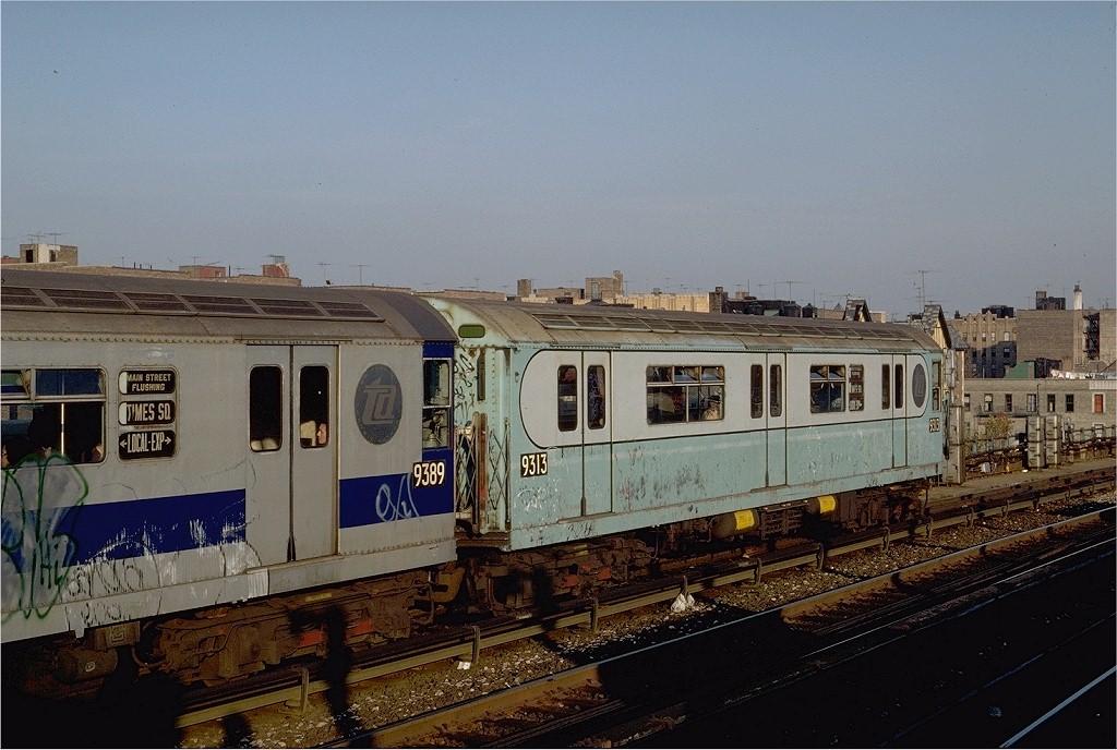(197k, 1024x688)<br><b>Country:</b> United States<br><b>City:</b> New York<br><b>System:</b> New York City Transit<br><b>Line:</b> IRT Flushing Line<br><b>Location:</b> 40th Street/Lowery Street<br><b>Route:</b> 7<br><b>Car:</b> R-33 World's Fair (St. Louis, 1963-64) 9313 <br><b>Photo by:</b> Steve Zabel<br><b>Collection of:</b> Joe Testagrose<br><b>Date:</b> 11/2/1981<br><b>Viewed (this week/total):</b> 0 / 3595
