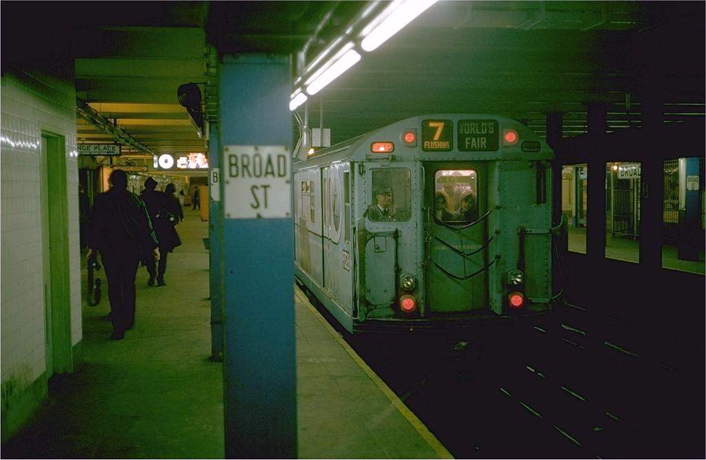(151k, 1024x667)<br><b>Country:</b> United States<br><b>City:</b> New York<br><b>System:</b> New York City Transit<br><b>Line:</b> BMT Nassau Street-Jamaica Line<br><b>Location:</b> Broad Street<br><b>Route:</b> Fan Trip<br><b>Car:</b> R-33 World's Fair (St. Louis, 1963-64) 9328 <br><b>Photo by:</b> Steve Zabel<br><b>Collection of:</b> Joe Testagrose<br><b>Date:</b> 10/27/1974<br><b>Viewed (this week/total):</b> 1 / 5896