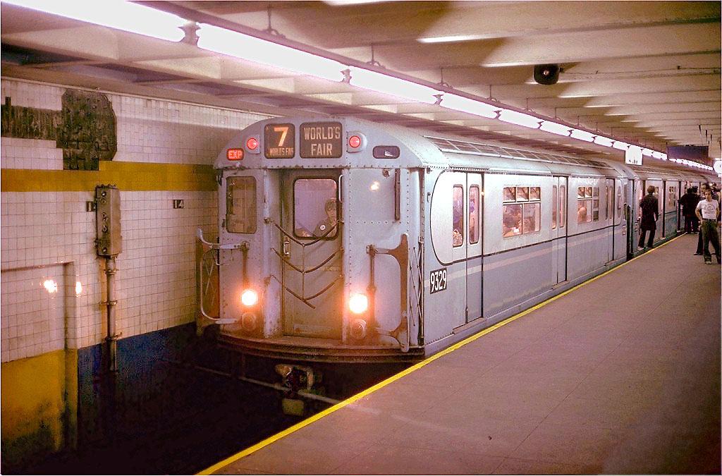 (185k, 1024x675)<br><b>Country:</b> United States<br><b>City:</b> New York<br><b>System:</b> New York City Transit<br><b>Line:</b> IND 8th Avenue Line<br><b>Location:</b> 14th Street<br><b>Route:</b> Fan Trip<br><b>Car:</b> R-33 World's Fair (St. Louis, 1963-64) 9329 <br><b>Photo by:</b> Steve Zabel<br><b>Collection of:</b> Joe Testagrose<br><b>Date:</b> 10/27/1974<br><b>Viewed (this week/total):</b> 1 / 4248