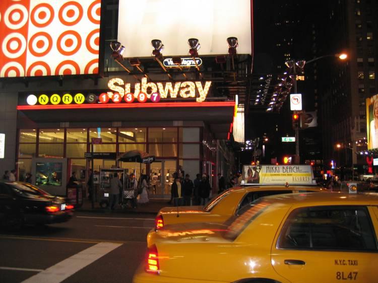 (60k, 750x562)<br><b>Country:</b> United States<br><b>City:</b> New York<br><b>System:</b> New York City Transit<br><b>Line:</b> IRT West Side Line<br><b>Location:</b> Times Square/42nd Street<br><b>Photo by:</b> Robbie Rosenfeld<br><b>Date:</b> 5/2005<br><b>Notes:</b> Street entrances to the Times Square station complex.<br><b>Viewed (this week/total):</b> 0 / 3263