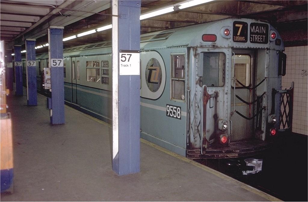 (185k, 1024x671)<br><b>Country:</b> United States<br><b>City:</b> New York<br><b>System:</b> New York City Transit<br><b>Line:</b> BMT Broadway Line<br><b>Location:</b> 57th Street<br><b>Route:</b> Fan Trip<br><b>Car:</b> R-36 World's Fair (St. Louis, 1963-64) 9558 <br><b>Photo by:</b> Doug Grotjahn<br><b>Collection of:</b> Joe Testagrose<br><b>Date:</b> 12/3/1971<br><b>Viewed (this week/total):</b> 0 / 3952