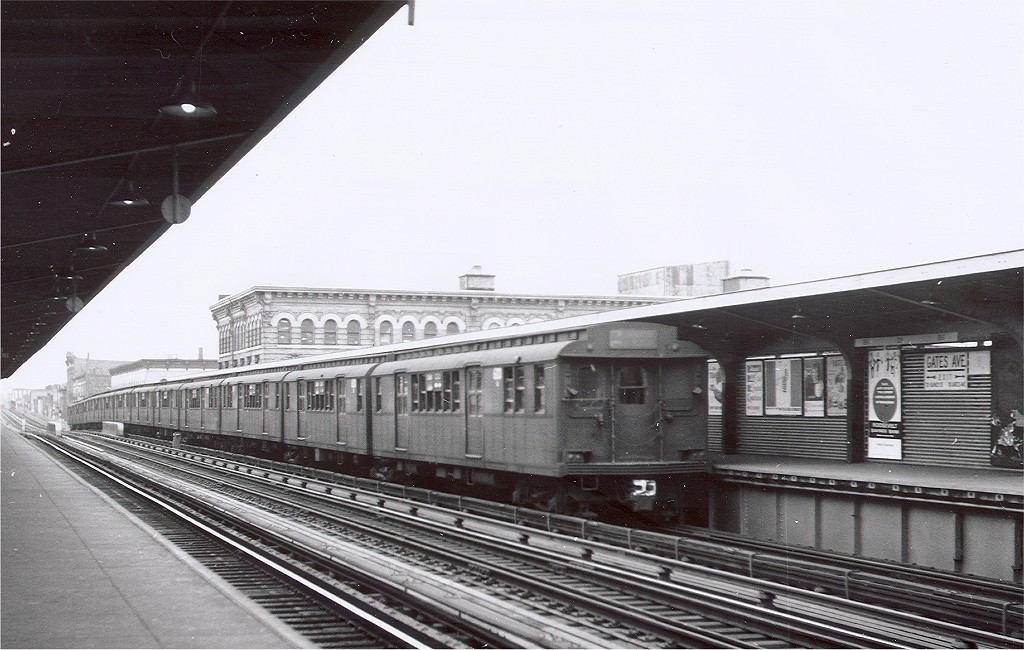(183k, 1024x650)<br><b>Country:</b> United States<br><b>City:</b> New York<br><b>System:</b> New York City Transit<br><b>Line:</b> BMT Nassau Street-Jamaica Line<br><b>Location:</b> Gates Avenue<br><b>Car:</b> BMT D-Type Triplex  <br><b>Photo by:</b> Hal Smith Collection<br><b>Collection of:</b> Joe Testagrose<br><b>Date:</b> 10/23/1962<br><b>Viewed (this week/total):</b> 5 / 4803