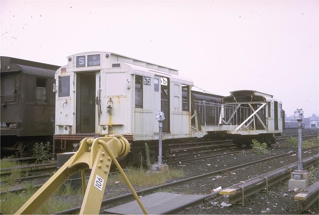(199k, 1024x689)<br><b>Country:</b> United States<br><b>City:</b> New York<br><b>System:</b> New York City Transit<br><b>Location:</b> Coney Island Yard<br><b>Car:</b> R-1 (American Car & Foundry, 1930-1931) XC675 (ex-165)<br><b>Photo by:</b> Joe Testagrose<br><b>Date:</b> 9/1970<br><b>Notes:</b> 75' Test Car ex-165<br><b>Viewed (this week/total):</b> 9 / 12142