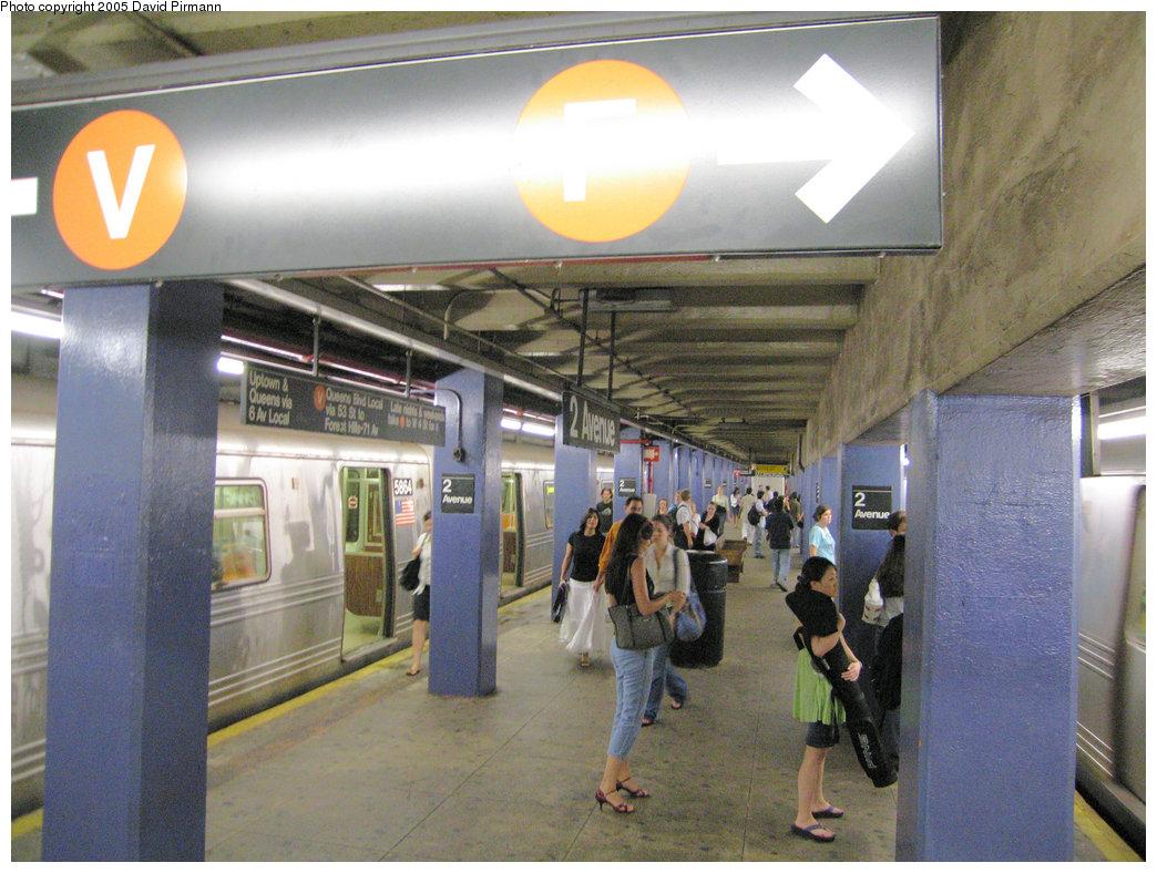 (237k, 1044x788)<br><b>Country:</b> United States<br><b>City:</b> New York<br><b>System:</b> New York City Transit<br><b>Line:</b> IND 6th Avenue Line<br><b>Location:</b> 2nd Avenue<br><b>Photo by:</b> David Pirmann<br><b>Date:</b> 6/30/2005<br><b>Notes:</b> View of northbound platform<br><b>Viewed (this week/total):</b> 1 / 3946