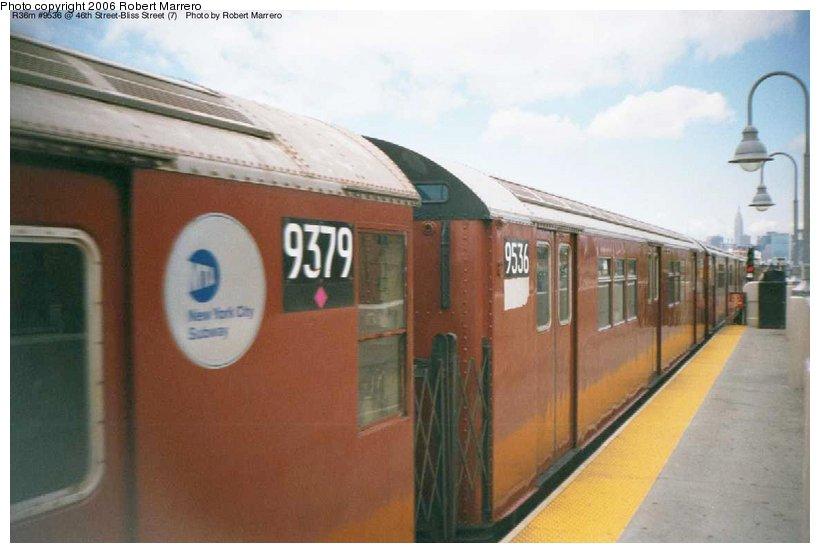(76k, 820x553)<br><b>Country:</b> United States<br><b>City:</b> New York<br><b>System:</b> New York City Transit<br><b>Line:</b> IRT Flushing Line<br><b>Location:</b> 46th Street/Bliss Street<br><b>Route:</b> 7<br><b>Car:</b> R-36 Main Line (St. Louis, 1964) 9536 <br><b>Photo by:</b> Robert Marrero<br><b>Date:</b> 12/2000<br><b>Viewed (this week/total):</b> 2 / 4762