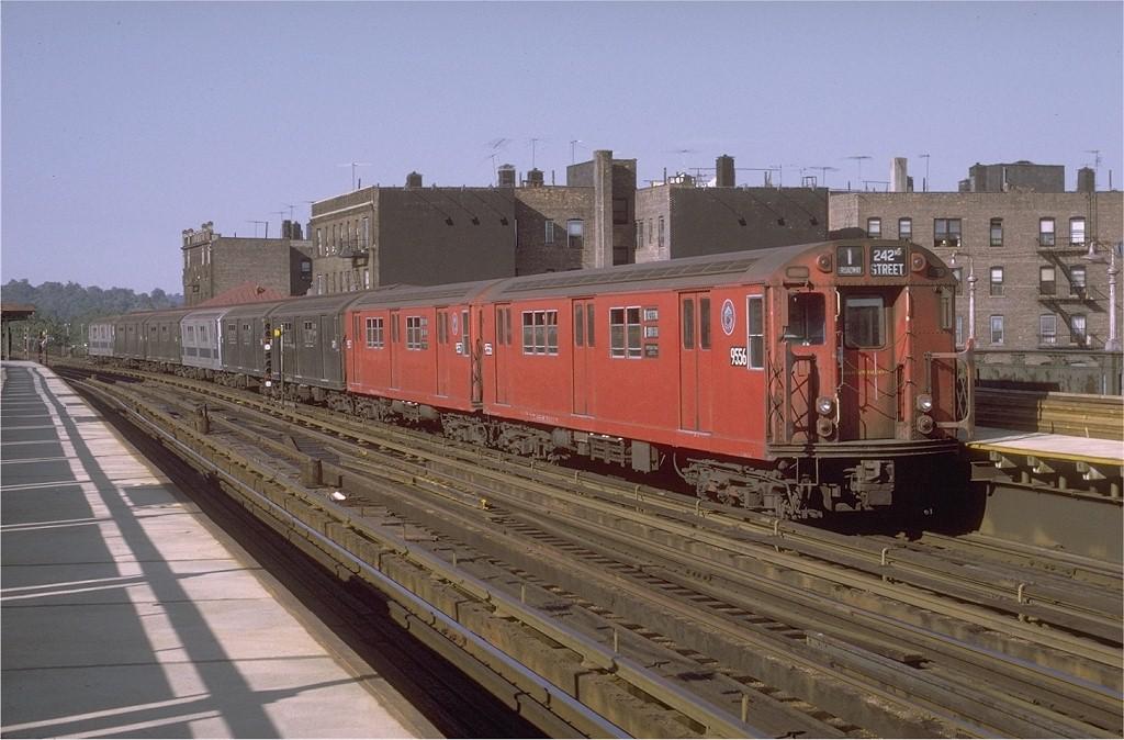 (190k, 1024x674)<br><b>Country:</b> United States<br><b>City:</b> New York<br><b>System:</b> New York City Transit<br><b>Line:</b> IRT West Side Line<br><b>Location:</b> 238th Street<br><b>Route:</b> 1<br><b>Car:</b> R-36 Main Line (St. Louis, 1964) 9556 <br><b>Photo by:</b> Doug Grotjahn<br><b>Collection of:</b> Joe Testagrose<br><b>Date:</b> 8/14/1971<br><b>Viewed (this week/total):</b> 3 / 5010