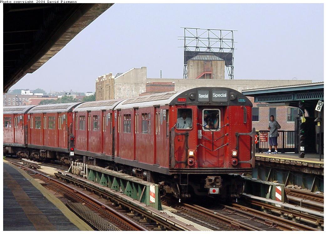 (137k, 1044x749)<br><b>Country:</b> United States<br><b>City:</b> New York<br><b>System:</b> New York City Transit<br><b>Line:</b> BMT Culver Line<br><b>Location:</b> Ditmas Avenue<br><b>Route:</b> Fan Trip<br><b>Car:</b> R-33 World's Fair (St. Louis, 1963-64) 9312 <br><b>Photo by:</b> David Pirmann<br><b>Date:</b> 8/27/2000<br><b>Viewed (this week/total):</b> 0 / 5689