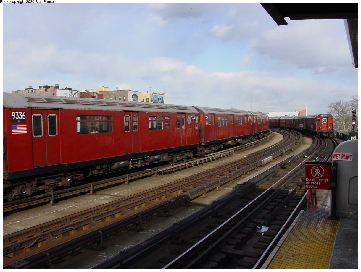 (377k, 1220x920)<br><b>Country:</b> United States<br><b>City:</b> New York<br><b>System:</b> New York City Transit<br><b>Line:</b> IRT Flushing Line<br><b>Location:</b> 46th Street/Bliss Street<br><b>Route:</b> 7<br><b>Car:</b> R-33 World's Fair (St. Louis, 1963-64) 9336 <br><b>Photo by:</b> Richard Panse<br><b>Date:</b> 3/22/2002<br><b>Viewed (this week/total):</b> 1 / 3736