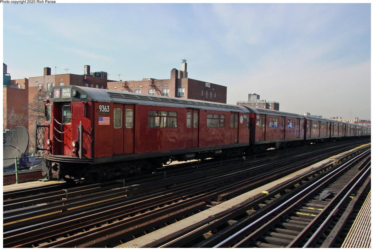 (490k, 1220x820)<br><b>Country:</b> United States<br><b>City:</b> New York<br><b>System:</b> New York City Transit<br><b>Line:</b> IRT Flushing Line<br><b>Location:</b> 74th Street/Broadway<br><b>Route:</b> 7<br><b>Car:</b> R-36 World's Fair (St. Louis, 1963-64) 9363 <br><b>Photo by:</b> Richard Panse<br><b>Date:</b> 3/7/2002<br><b>Viewed (this week/total):</b> 0 / 3890