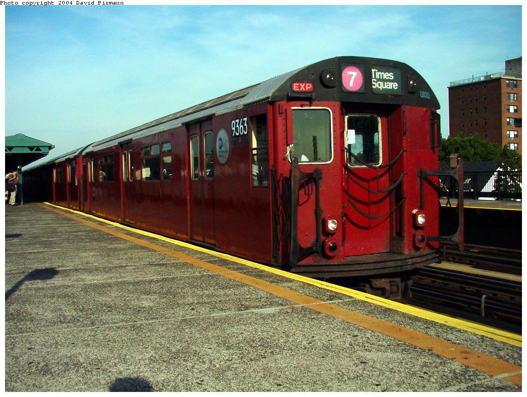 (163k, 1044x788)<br><b>Country:</b> United States<br><b>City:</b> New York<br><b>System:</b> New York City Transit<br><b>Line:</b> IRT Flushing Line<br><b>Location:</b> 69th Street/Fisk Avenue<br><b>Route:</b> 7<br><b>Car:</b> R-36 World's Fair (St. Louis, 1963-64) 9363 <br><b>Photo by:</b> David Pirmann<br><b>Date:</b> 7/16/2001<br><b>Viewed (this week/total):</b> 0 / 3946