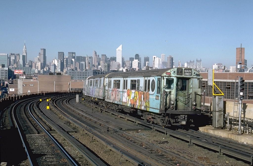 (223k, 1024x674)<br><b>Country:</b> United States<br><b>City:</b> New York<br><b>System:</b> New York City Transit<br><b>Line:</b> IRT Flushing Line<br><b>Location:</b> 33rd Street/Rawson Street<br><b>Route:</b> 7<br><b>Car:</b> R-36 World's Fair (St. Louis, 1963-64) 9666 <br><b>Photo by:</b> Steve Zabel<br><b>Collection of:</b> Joe Testagrose<br><b>Date:</b> 11/3/1981<br><b>Viewed (this week/total):</b> 1 / 6435