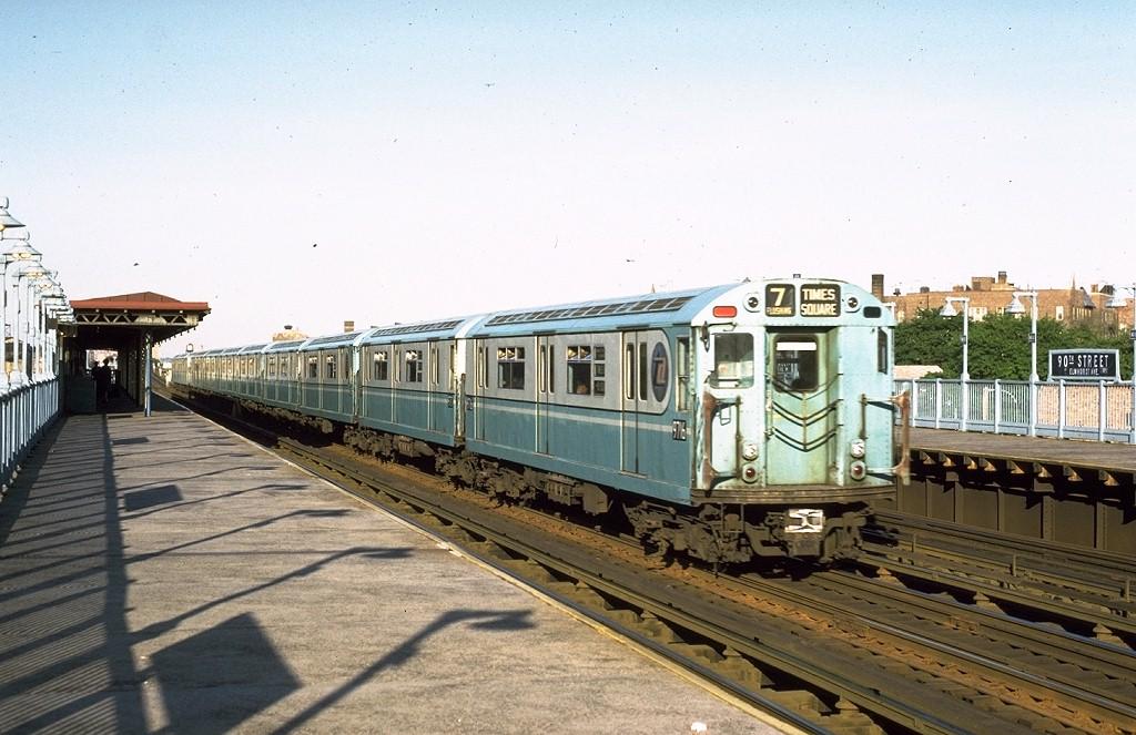 (197k, 1024x663)<br><b>Country:</b> United States<br><b>City:</b> New York<br><b>System:</b> New York City Transit<br><b>Line:</b> IRT Flushing Line<br><b>Location:</b> 90th Street/Elmhurst Avenue<br><b>Route:</b> 7<br><b>Car:</b> R-36 World's Fair (St. Louis, 1963-64) 9716 <br><b>Photo by:</b> Joe Testagrose<br><b>Date:</b> 5/26/1972<br><b>Viewed (this week/total):</b> 0 / 5937