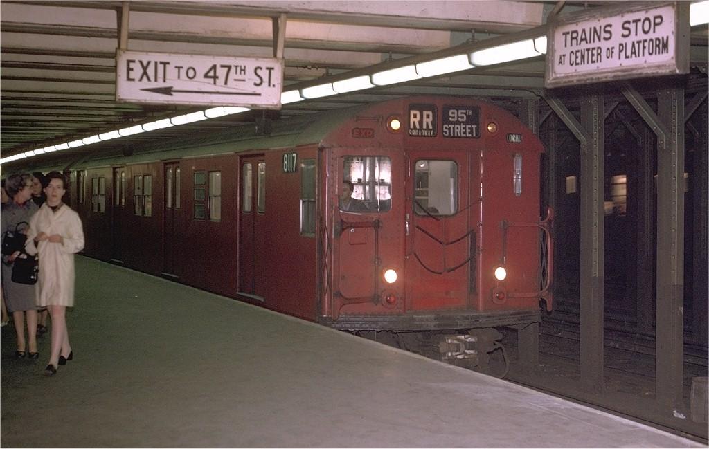 (177k, 1024x649)<br><b>Country:</b> United States<br><b>City:</b> New York<br><b>System:</b> New York City Transit<br><b>Line:</b> BMT Broadway Line<br><b>Location:</b> 49th Street<br><b>Route:</b> RR<br><b>Car:</b> R-27 (St. Louis, 1960) 8117 <br><b>Photo by:</b> Joe Testagrose<br><b>Date:</b> 6/16/1970<br><b>Viewed (this week/total):</b> 3 / 8632