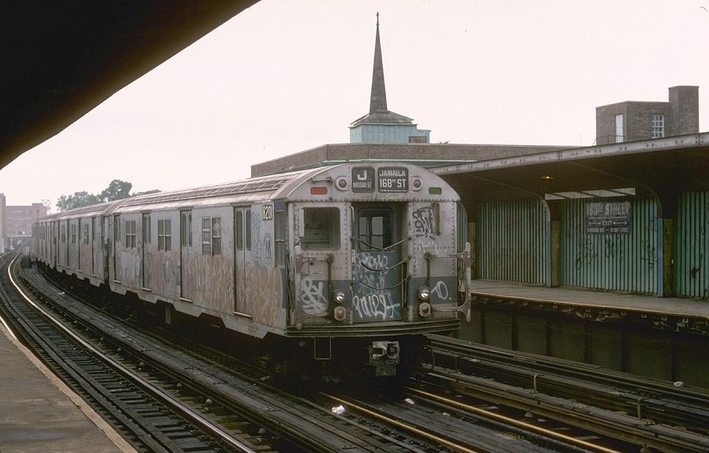 (164k, 1024x654)<br><b>Country:</b> United States<br><b>City:</b> New York<br><b>System:</b> New York City Transit<br><b>Line:</b> BMT Nassau Street-Jamaica Line<br><b>Location:</b> 160th Street (Demolished)<br><b>Route:</b> J<br><b>Car:</b> R-27 (St. Louis, 1960) 8201 <br><b>Photo by:</b> Joe Testagrose<br><b>Date:</b> 9/10/1977<br><b>Viewed (this week/total):</b> 0 / 7812