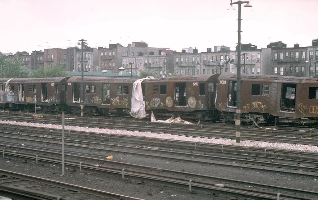 (181k, 1024x644)<br><b>Country:</b> United States<br><b>City:</b> New York<br><b>System:</b> New York City Transit<br><b>Location:</b> Fresh Pond Yard<br><b>Car:</b> R-27 (St. Louis, 1960) 8202 <br><b>Photo by:</b> Joe Testagrose<br><b>Date:</b> 7/4/1976<br><b>Notes:</b> Result of a fire at Metropolitan Avenue<br><b>Viewed (this week/total):</b> 0 / 14372