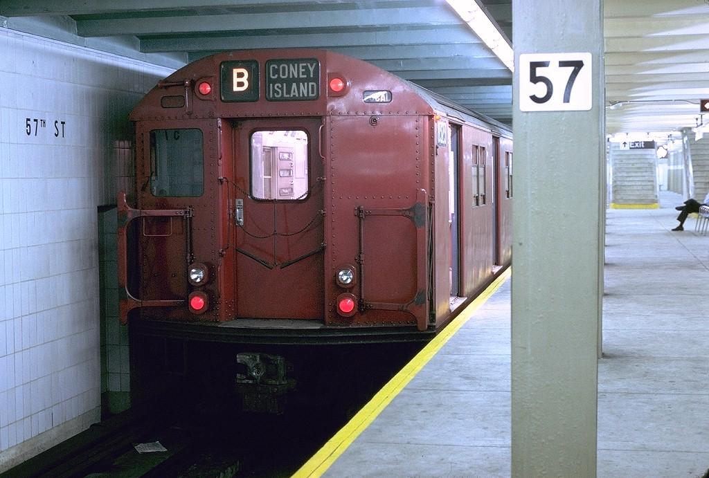 (216k, 1024x691)<br><b>Country:</b> United States<br><b>City:</b> New York<br><b>System:</b> New York City Transit<br><b>Line:</b> IND 6th Avenue Line<br><b>Location:</b> 57th Street<br><b>Route:</b> B<br><b>Car:</b> R-30 (St. Louis, 1961) 8323 <br><b>Photo by:</b> Joe Testagrose<br><b>Date:</b> 8/5/1969<br><b>Viewed (this week/total):</b> 4 / 5170
