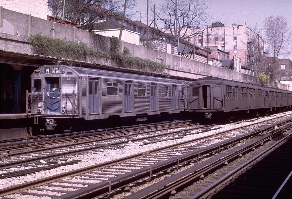 (312k, 1024x699)<br><b>Country:</b> United States<br><b>City:</b> New York<br><b>System:</b> New York City Transit<br><b>Line:</b> BMT Sea Beach Line<br><b>Location:</b> Bay Parkway (22nd Avenue)<br><b>Route:</b> N<br><b>Car:</b> R-32 (Budd, 1964) 3357 <br><b>Photo by:</b> Joe Testagrose<br><b>Date:</b> 4/13/1969<br><b>Viewed (this week/total):</b> 2 / 5002