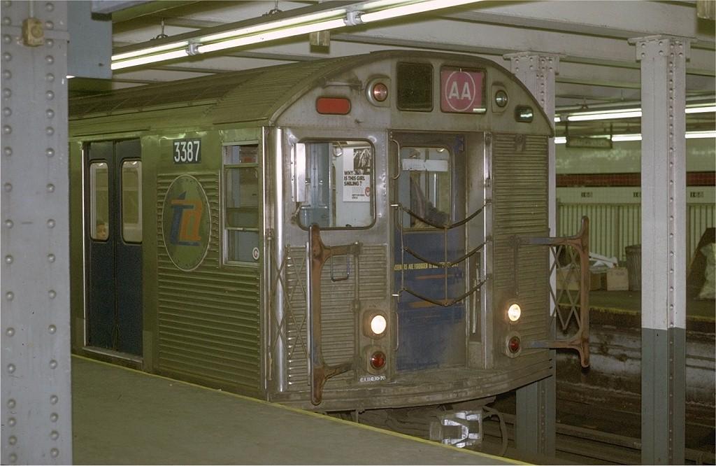 (175k, 1024x666)<br><b>Country:</b> United States<br><b>City:</b> New York<br><b>System:</b> New York City Transit<br><b>Line:</b> IND 8th Avenue Line<br><b>Location:</b> 168th Street<br><b>Route:</b> AA<br><b>Car:</b> R-32 (Budd, 1964) 3387 <br><b>Photo by:</b> Joe Testagrose<br><b>Date:</b> 11/29/1970<br><b>Viewed (this week/total):</b> 2 / 6452