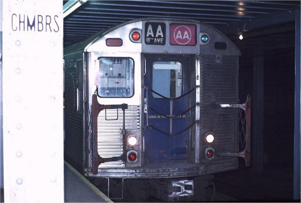 (120k, 1024x692)<br><b>Country:</b> United States<br><b>City:</b> New York<br><b>System:</b> New York City Transit<br><b>Line:</b> IND 8th Avenue Line<br><b>Location:</b> Chambers Street/World Trade Center<br><b>Route:</b> AA<br><b>Car:</b> R-32 (Budd, 1964) 3617 <br><b>Photo by:</b> Joe Testagrose<br><b>Date:</b> 11/25/1970<br><b>Viewed (this week/total):</b> 1 / 4323