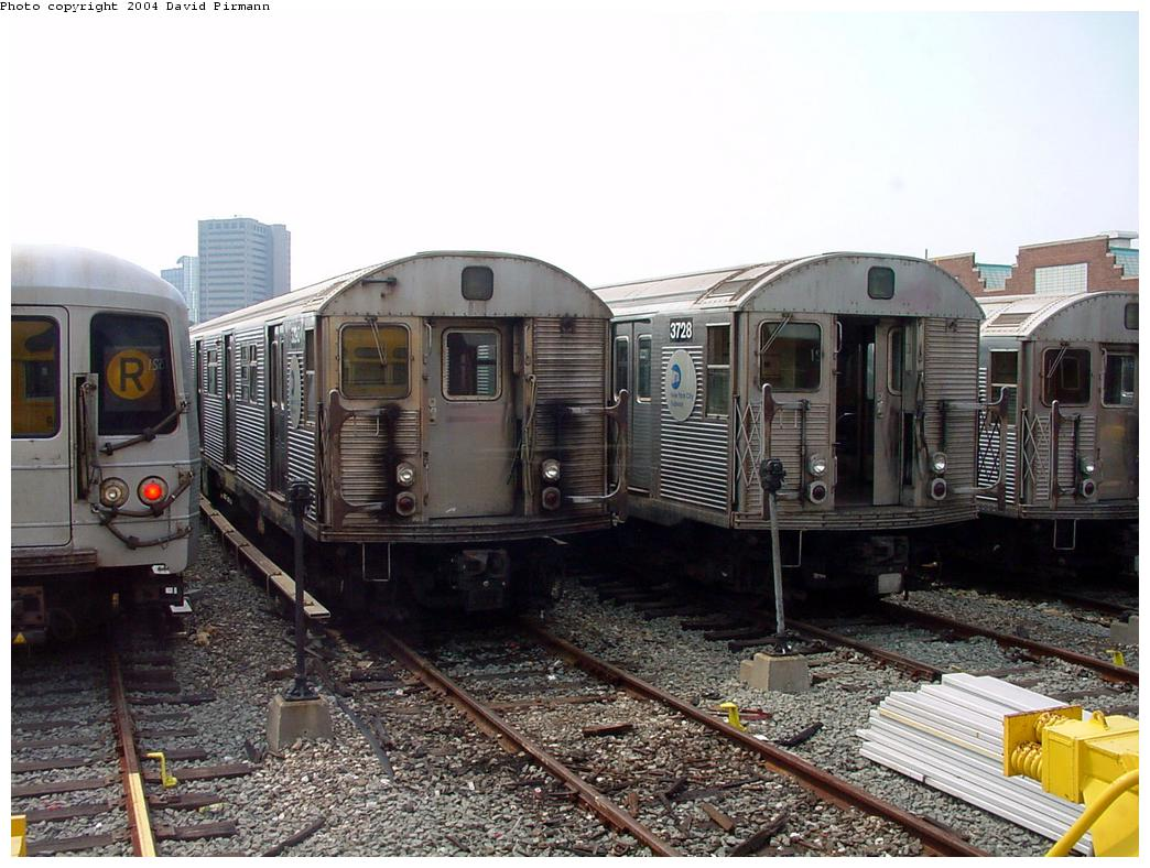 (144k, 1044x788)<br><b>Country:</b> United States<br><b>City:</b> New York<br><b>System:</b> New York City Transit<br><b>Location:</b> Jamaica Yard/Shops<br><b>Car:</b> R-32 (Budd, 1964) 3728 <br><b>Photo by:</b> David Pirmann<br><b>Date:</b> 8/27/2000<br><b>Viewed (this week/total):</b> 0 / 8117