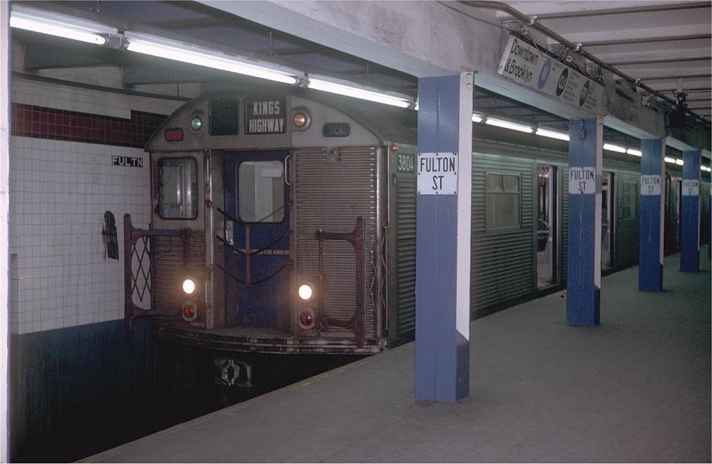 (175k, 1024x667)<br><b>Country:</b> United States<br><b>City:</b> New York<br><b>System:</b> New York City Transit<br><b>Line:</b> BMT Nassau Street-Jamaica Line<br><b>Location:</b> Fulton Street<br><b>Route:</b> QJ<br><b>Car:</b> R-32 (Budd, 1964) 3804 <br><b>Photo by:</b> Doug Grotjahn<br><b>Collection of:</b> Joe Testagrose<br><b>Date:</b> 2/12/1971<br><b>Viewed (this week/total):</b> 6 / 7594
