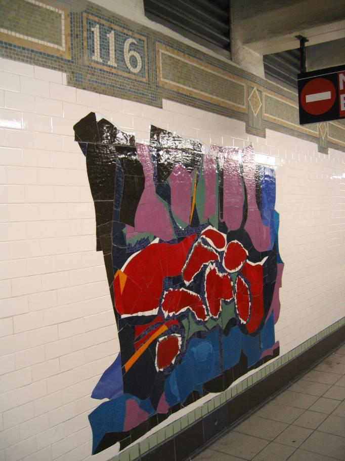 (81k, 682x909)<br><b>Country:</b> United States<br><b>City:</b> New York<br><b>System:</b> New York City Transit<br><b>Line:</b> IRT East Side Line<br><b>Location:</b> 116th Street<br><b>Photo by:</b> Robbie Rosenfeld<br><b>Date:</b> 7/15/2005<br><b>Artwork:</b> <i>In Everything There is a Season</i>, Robert Blackburn, 2005<br><b>Viewed (this week/total):</b> 0 / 4384