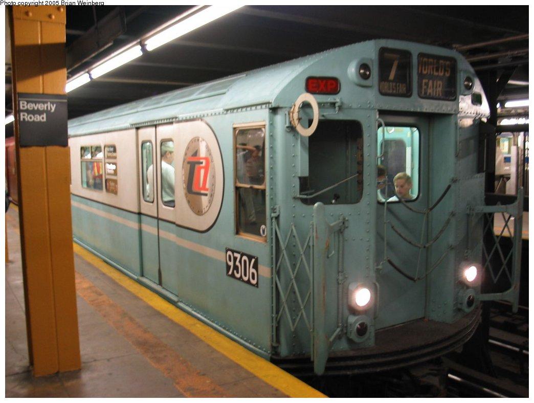 (122k, 1044x788)<br><b>Country:</b> United States<br><b>City:</b> New York<br><b>System:</b> New York City Transit<br><b>Line:</b> IRT Brooklyn Line<br><b>Location:</b> Beverly Road<br><b>Route:</b> Fan Trip<br><b>Car:</b> R-33 World's Fair (St. Louis, 1963-64) 9306 <br><b>Photo by:</b> Brian Weinberg<br><b>Date:</b> 6/29/2003<br><b>Viewed (this week/total):</b> 1 / 6665