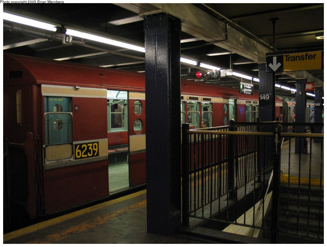 (144k, 1044x788)<br><b>Country:</b> United States<br><b>City:</b> New York<br><b>System:</b> New York City Transit<br><b>Line:</b> IRT Woodlawn Line<br><b>Location:</b> 149th Street-Grand Concourse<br><b>Route:</b> Fan Trip<br><b>Car:</b> R-15 (American Car & Foundry, 1950) 6239 <br><b>Photo by:</b> Brian Weinberg<br><b>Date:</b> 6/29/2003<br><b>Viewed (this week/total):</b> 2 / 4153