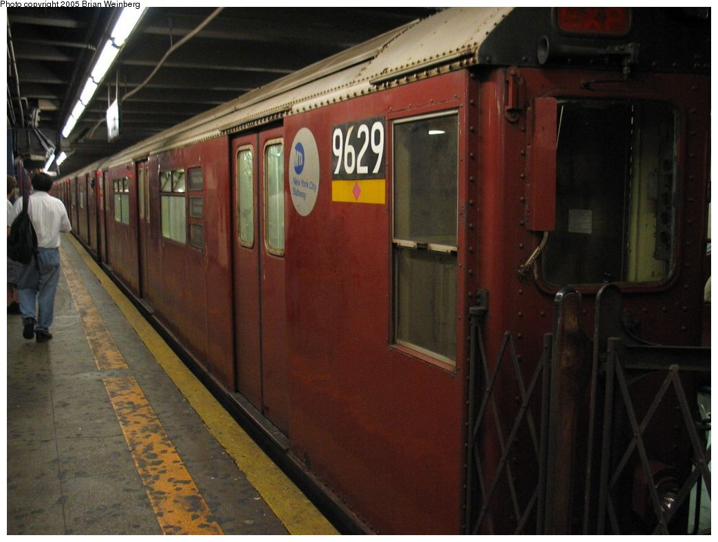 (136k, 1044x788)<br><b>Country:</b> United States<br><b>City:</b> New York<br><b>System:</b> New York City Transit<br><b>Line:</b> IRT Woodlawn Line<br><b>Location:</b> 149th Street-Grand Concourse<br><b>Route:</b> Fan Trip<br><b>Car:</b> R-36 World's Fair (St. Louis, 1963-64) 9629 <br><b>Photo by:</b> Brian Weinberg<br><b>Date:</b> 6/29/2003<br><b>Viewed (this week/total):</b> 0 / 3925