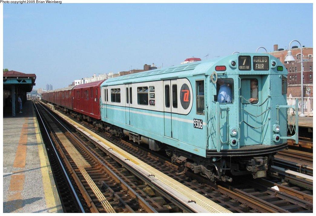 (165k, 1044x716)<br><b>Country:</b> United States<br><b>City:</b> New York<br><b>System:</b> New York City Transit<br><b>Line:</b> IRT Woodlawn Line<br><b>Location:</b> 170th Street<br><b>Route:</b> Fan Trip<br><b>Car:</b> R-33 World's Fair (St. Louis, 1963-64) 9306 <br><b>Photo by:</b> Brian Weinberg<br><b>Date:</b> 6/29/2003<br><b>Viewed (this week/total):</b> 0 / 3280