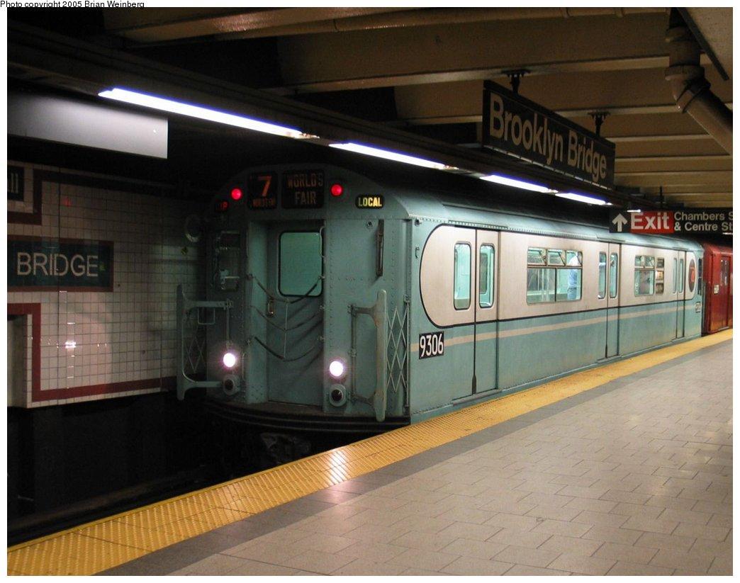 (138k, 1044x823)<br><b>Country:</b> United States<br><b>City:</b> New York<br><b>System:</b> New York City Transit<br><b>Line:</b> IRT East Side Line<br><b>Location:</b> Brooklyn Bridge/City Hall<br><b>Route:</b> Fan Trip<br><b>Car:</b> R-33 World's Fair (St. Louis, 1963-64) 9306 <br><b>Photo by:</b> Brian Weinberg<br><b>Date:</b> 6/29/2003<br><b>Viewed (this week/total):</b> 0 / 5597