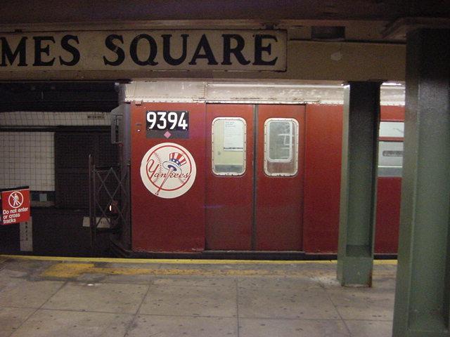 (60k, 640x480)<br><b>Country:</b> United States<br><b>City:</b> New York<br><b>System:</b> New York City Transit<br><b>Line:</b> IRT Flushing Line<br><b>Location:</b> Times Square<br><b>Route:</b> 7<br><b>Car:</b> R-36 World's Fair (St. Louis, 1963-64) 9394 <br><b>Photo by:</b> Salaam Allah<br><b>Date:</b> 9/17/2002<br><b>Viewed (this week/total):</b> 0 / 4107
