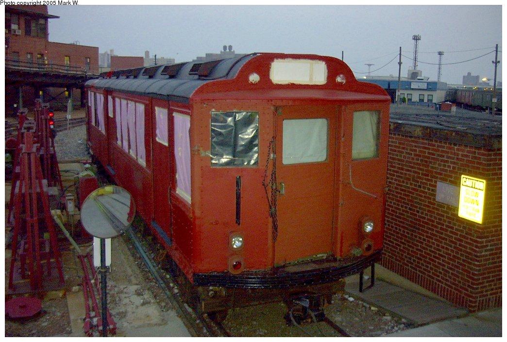 (169k, 1044x706)<br><b>Country:</b> United States<br><b>City:</b> New York<br><b>System:</b> New York City Transit<br><b>Location:</b> Coney Island Yard<br><b>Car:</b> Low-V (World's Fair) 5655 <br><b>Photo by:</b> Mark W.<br><b>Date:</b> 8/29/2002<br><b>Notes:</b> WF Low-V 5655 prepped for repainting.<br><b>Viewed (this week/total):</b> 2 / 9352