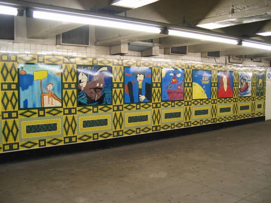 (92k, 909x682)<br><b>Country:</b> United States<br><b>City:</b> New York<br><b>System:</b> New York City Transit<br><b>Line:</b> IND 8th Avenue Line<br><b>Location:</b> 59th Street/Columbus Circle<br><b>Photo by:</b> Robbie Rosenfeld<br><b>Date:</b> 7/31/2005<br><b>Artwork:</b> <i>Hello Columbus</i>, NYC Artists & Public School Students, 1992<br><b>Viewed (this week/total):</b> 0 / 3332