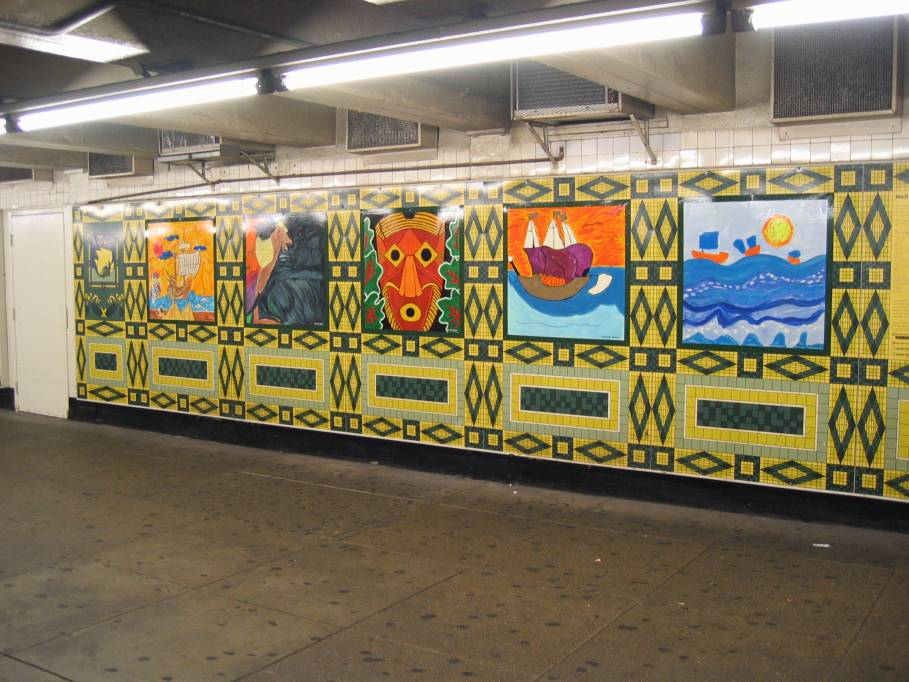 (98k, 909x682)<br><b>Country:</b> United States<br><b>City:</b> New York<br><b>System:</b> New York City Transit<br><b>Line:</b> IND 8th Avenue Line<br><b>Location:</b> 59th Street/Columbus Circle<br><b>Photo by:</b> Robbie Rosenfeld<br><b>Date:</b> 7/31/2005<br><b>Artwork:</b> <i>Hello Columbus</i>, NYC Artists & Public School Students, 1992<br><b>Viewed (this week/total):</b> 0 / 3206