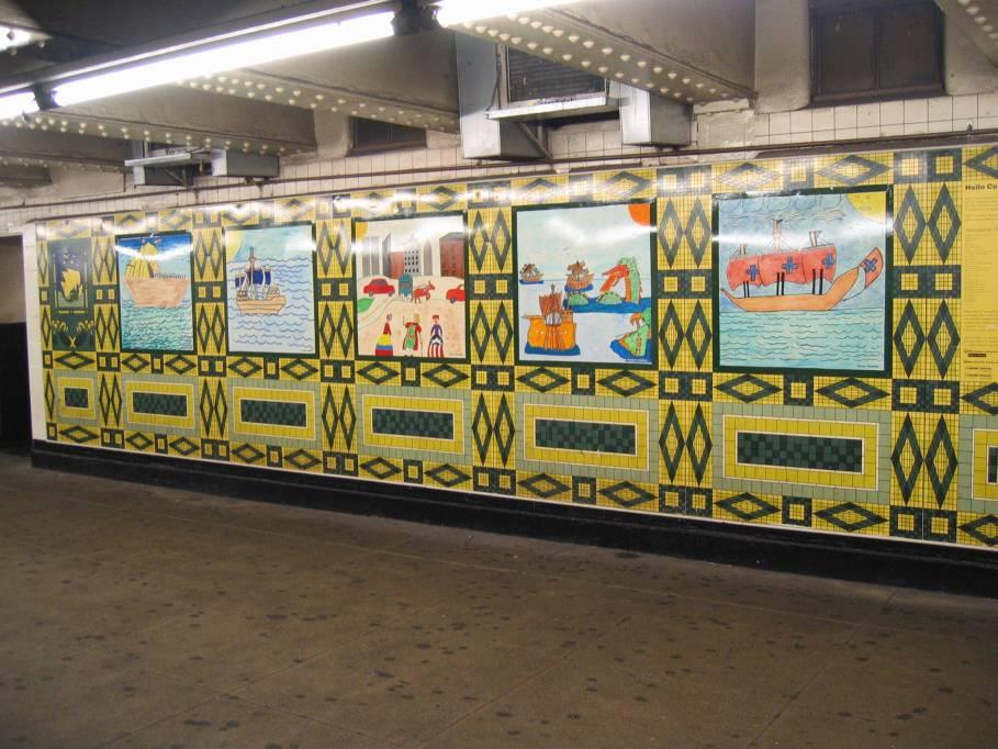 (98k, 909x682)<br><b>Country:</b> United States<br><b>City:</b> New York<br><b>System:</b> New York City Transit<br><b>Line:</b> IND 8th Avenue Line<br><b>Location:</b> 59th Street/Columbus Circle<br><b>Photo by:</b> Robbie Rosenfeld<br><b>Date:</b> 7/31/2005<br><b>Artwork:</b> <i>Hello Columbus</i>, NYC Artists & Public School Students, 1992<br><b>Viewed (this week/total):</b> 2 / 3427
