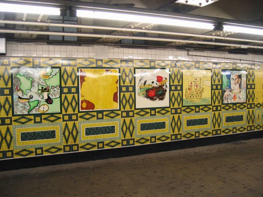(105k, 909x682)<br><b>Country:</b> United States<br><b>City:</b> New York<br><b>System:</b> New York City Transit<br><b>Line:</b> IND 8th Avenue Line<br><b>Location:</b> 59th Street/Columbus Circle<br><b>Photo by:</b> Robbie Rosenfeld<br><b>Date:</b> 7/31/2005<br><b>Artwork:</b> <i>Hello Columbus</i>, NYC Artists & Public School Students, 1992<br><b>Viewed (this week/total):</b> 0 / 3225