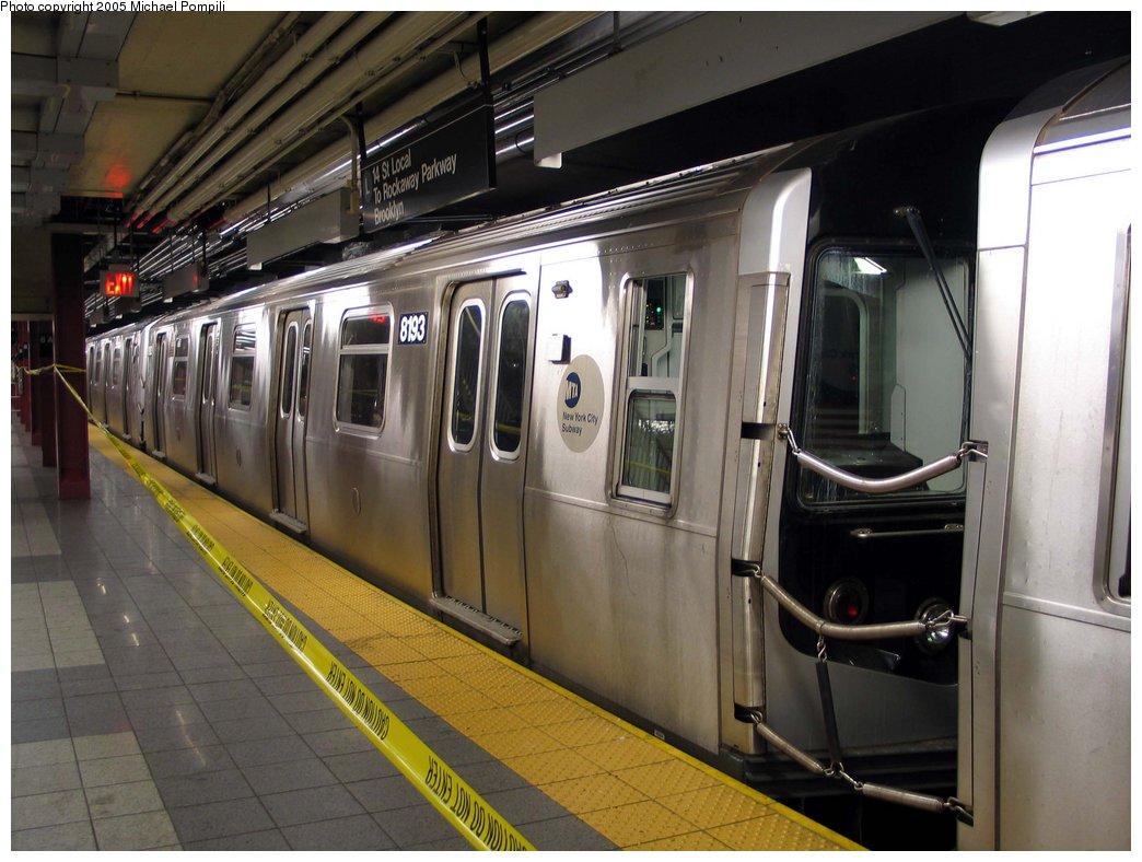 (171k, 1044x788)<br><b>Country:</b> United States<br><b>City:</b> New York<br><b>System:</b> New York City Transit<br><b>Line:</b> BMT Canarsie Line<br><b>Location:</b> 8th Avenue<br><b>Route:</b> L<br><b>Car:</b> R-143 (Kawasaki, 2001-2002) 8183 <br><b>Photo by:</b> Michael Pompili<br><b>Date:</b> 4/18/2004<br><b>Viewed (this week/total):</b> 2 / 4707