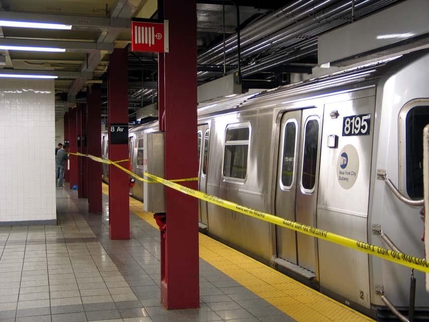 (97k, 853x640)<br><b>Country:</b> United States<br><b>City:</b> New York<br><b>System:</b> New York City Transit<br><b>Line:</b> BMT Canarsie Line<br><b>Location:</b> 8th Avenue<br><b>Route:</b> L<br><b>Car:</b> R-143 (Kawasaki, 2001-2002) 8195 <br><b>Photo by:</b> Michael Pompili<br><b>Date:</b> 4/18/2004<br><b>Viewed (this week/total):</b> 1 / 4877