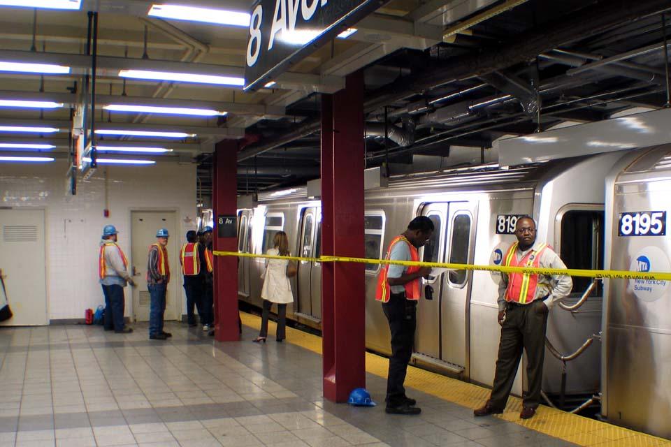 (106k, 960x640)<br><b>Country:</b> United States<br><b>City:</b> New York<br><b>System:</b> New York City Transit<br><b>Line:</b> BMT Canarsie Line<br><b>Location:</b> 8th Avenue<br><b>Route:</b> L<br><b>Car:</b> R-143 (Kawasaki, 2001-2002) 8196 <br><b>Photo by:</b> Michael Pompili<br><b>Date:</b> 4/18/2004<br><b>Viewed (this week/total):</b> 4 / 5978
