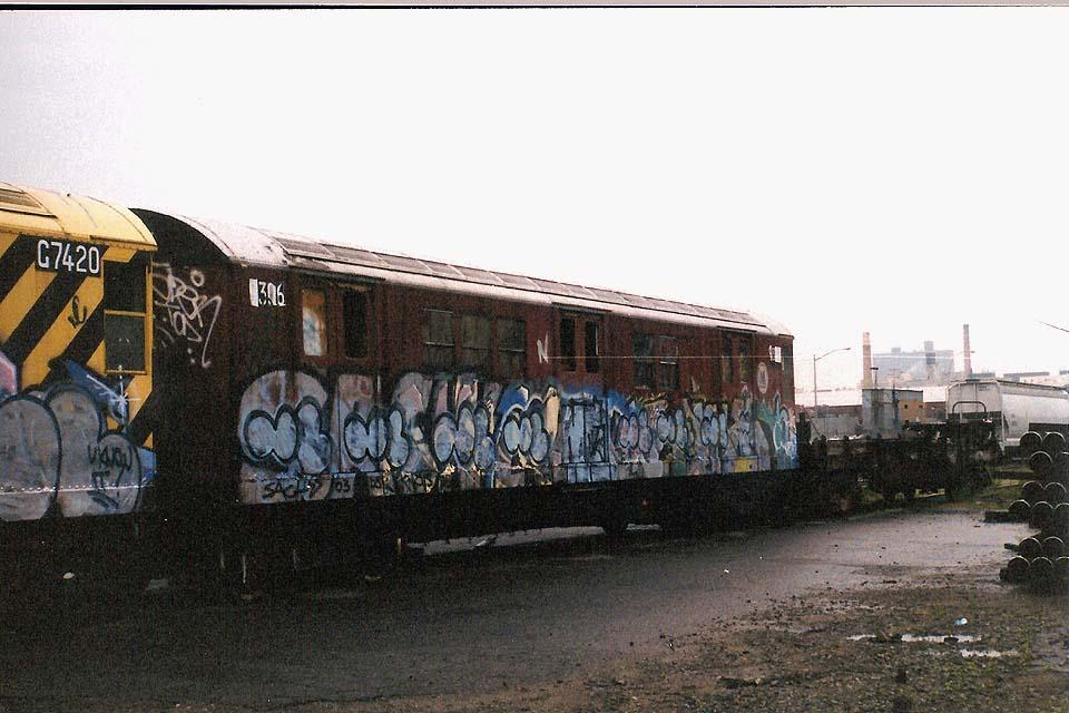(104k, 960x640)<br><b>Country:</b> United States<br><b>City:</b> New York<br><b>System:</b> New York City Transit<br><b>Line:</b> South Brooklyn Railway<br><b>Location:</b> SBK Yard (2nd Ave at 38th St.) (SBK)<br><b>Car:</b> R-21 (St. Louis, 1956-57) 9306 (ex-7261)<br><b>Photo by:</b> Michael Pompili<br><b>Date:</b> 6/2003<br><b>Viewed (this week/total):</b> 3 / 5060