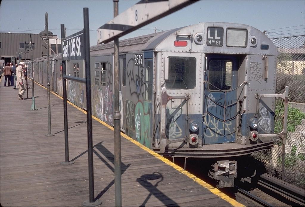 (220k, 1024x695)<br><b>Country:</b> United States<br><b>City:</b> New York<br><b>System:</b> New York City Transit<br><b>Line:</b> BMT Canarsie Line<br><b>Location:</b> East 105th Street<br><b>Route:</b> LL<br><b>Car:</b> R-30 (St. Louis, 1961) 8549 <br><b>Photo by:</b> Steve Zabel<br><b>Collection of:</b> Joe Testagrose<br><b>Date:</b> 4/30/1977<br><b>Viewed (this week/total):</b> 0 / 5181