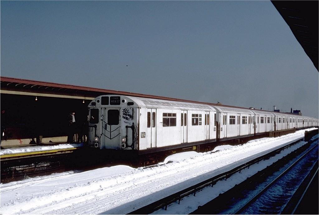 (175k, 1024x689)<br><b>Country:</b> United States<br><b>City:</b> New York<br><b>System:</b> New York City Transit<br><b>Line:</b> IRT Flushing Line<br><b>Location:</b> 40th Street/Lowery Street<br><b>Route:</b> 7<br><b>Car:</b> R-36 World's Fair (St. Louis, 1963-64) 9694 <br><b>Photo by:</b> Steve Zabel<br><b>Collection of:</b> Joe Testagrose<br><b>Date:</b> 2/13/1983<br><b>Viewed (this week/total):</b> 2 / 4764