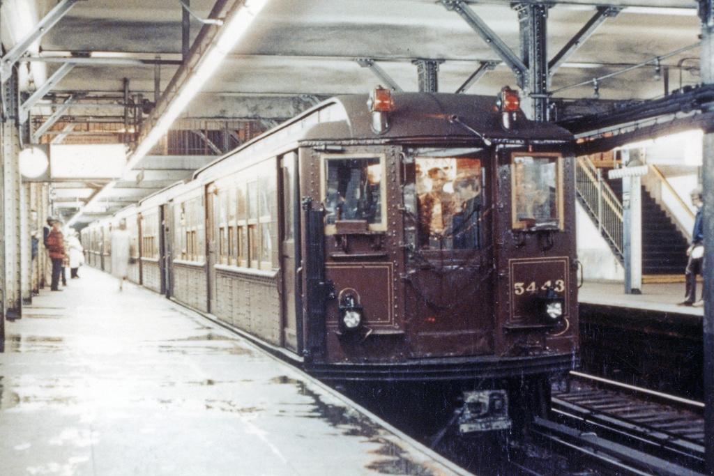 (398k, 1024x683)<br><b>Country:</b> United States<br><b>City:</b> New York<br><b>System:</b> New York City Transit<br><b>Line:</b> IRT Brooklyn Line<br><b>Location:</b> Borough Hall (East Side Branch)<br><b>Route:</b> Fan Trip<br><b>Car:</b> Low-V (Museum Train) 5443 <br><b>Photo by:</b> Charles Fiori<br><b>Collection of:</b> David Pirmann<br><b>Date:</b> 11/3/1979<br><b>Viewed (this week/total):</b> 0 / 4440