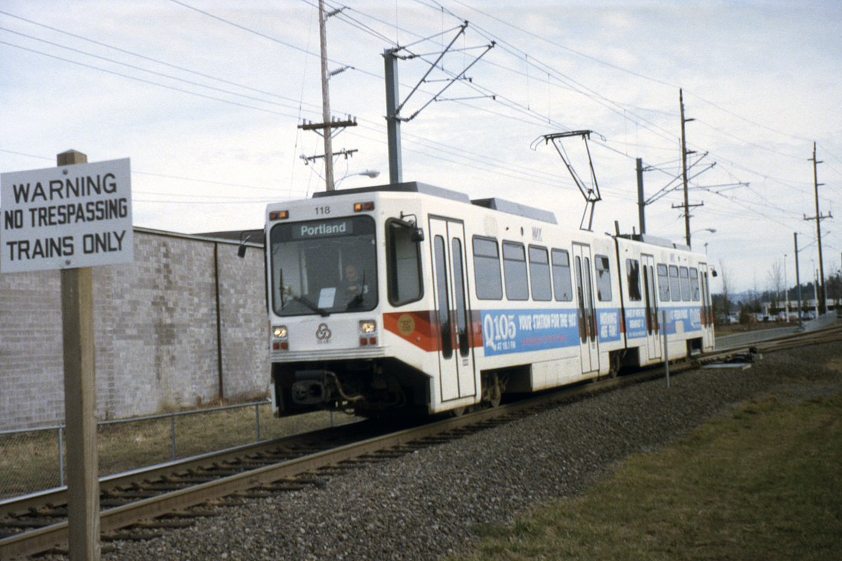 (478k, 1200x800)<br><b>Country:</b> United States<br><b>City:</b> Portland, OR<br><b>System:</b> Portland MAX<br><b>Line:</b> MAX Blue (East-West) Line<br><b>Car:</b> MAX Type 1 (Bombardier) 118 <br><b>Photo by:</b> Ed Davis, Sr.<br><b>Collection of:</b> David Pirmann<br><b>Date:</b> 2/1991<br><b>Viewed (this week/total):</b> 1 / 2352