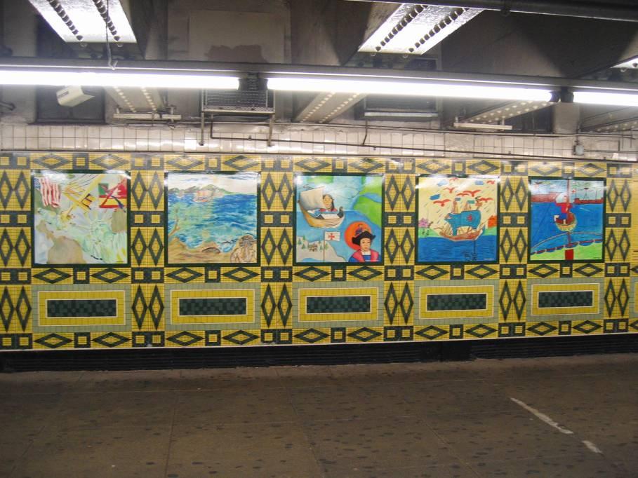 (106k, 909x682)<br><b>Country:</b> United States<br><b>City:</b> New York<br><b>System:</b> New York City Transit<br><b>Line:</b> IND 8th Avenue Line<br><b>Location:</b> 59th Street/Columbus Circle<br><b>Photo by:</b> Robbie Rosenfeld<br><b>Date:</b> 9/18/2005<br><b>Artwork:</b> <i>Hello Columbus</i>, NYC Artists & Public School Students, 1992<br><b>Viewed (this week/total):</b> 0 / 3036