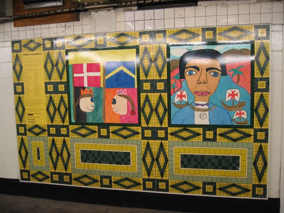 (118k, 909x682)<br><b>Country:</b> United States<br><b>City:</b> New York<br><b>System:</b> New York City Transit<br><b>Line:</b> IND 8th Avenue Line<br><b>Location:</b> 59th Street/Columbus Circle<br><b>Photo by:</b> Robbie Rosenfeld<br><b>Date:</b> 9/18/2005<br><b>Artwork:</b> <i>Hello Columbus</i>, NYC Artists & Public School Students, 1992<br><b>Viewed (this week/total):</b> 4 / 3271