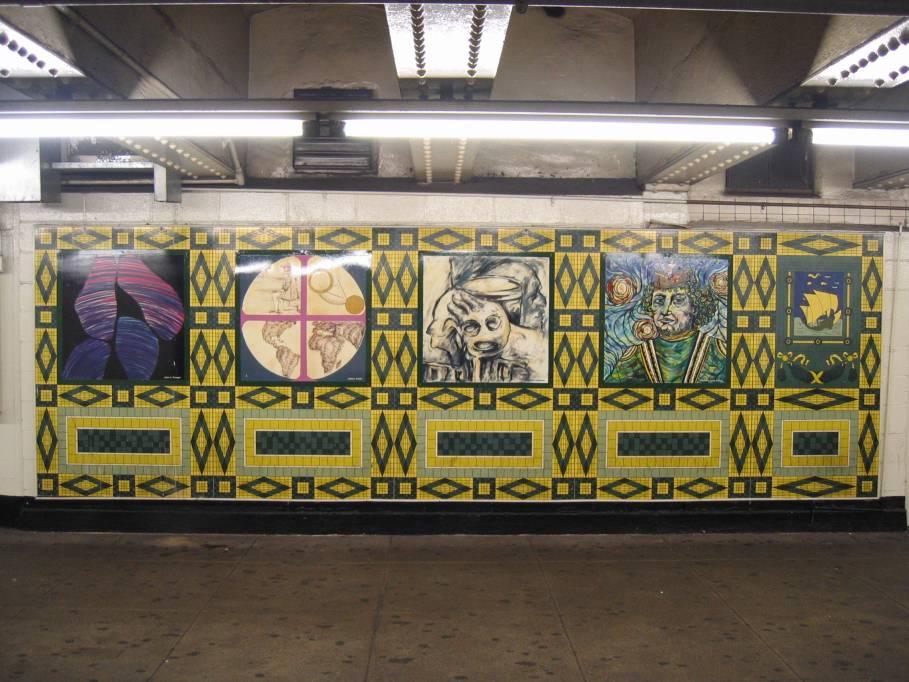 (106k, 909x682)<br><b>Country:</b> United States<br><b>City:</b> New York<br><b>System:</b> New York City Transit<br><b>Line:</b> IND 8th Avenue Line<br><b>Location:</b> 59th Street/Columbus Circle<br><b>Photo by:</b> Robbie Rosenfeld<br><b>Date:</b> 9/18/2005<br><b>Artwork:</b> <i>Hello Columbus</i>, NYC Artists & Public School Students, 1992<br><b>Viewed (this week/total):</b> 0 / 2970